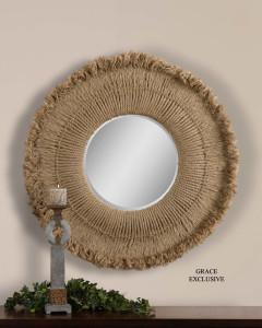 Burlap framed mirror