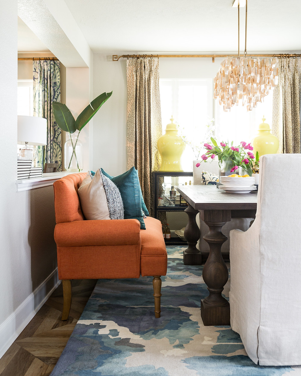 Dining Room With Orange Bench