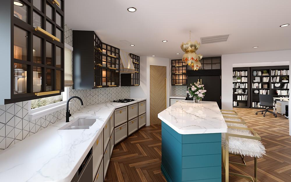 3D rendering of kitchen design by Casa Vilora Interiors