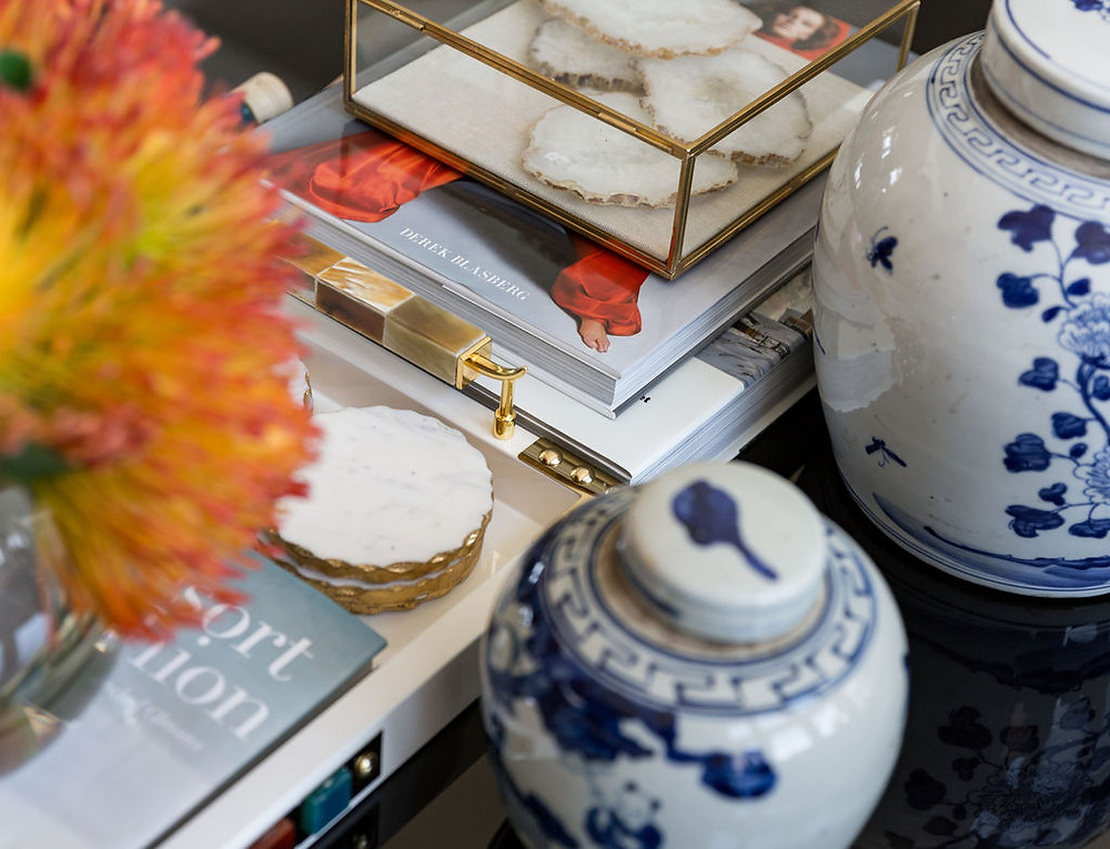 Coffee Table Vignette With Blue And White Ginger Jars. Fulshear TX
