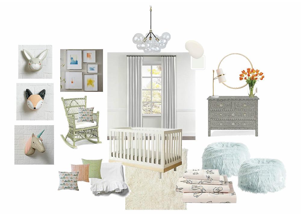 Girl's nursery, crib, modern nursery