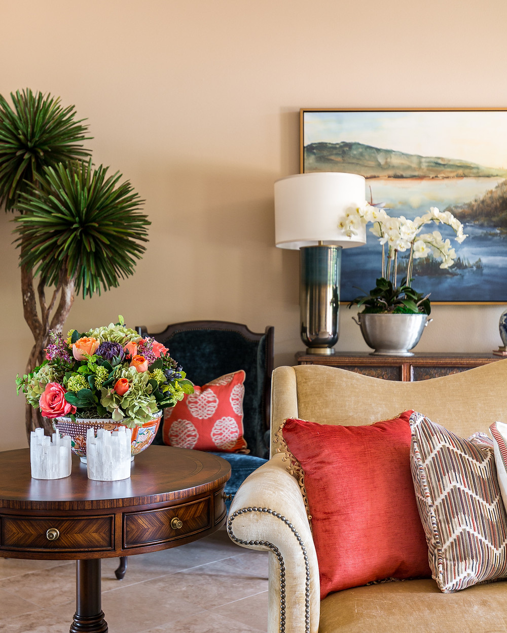 Faux Dracaena Tree, Faux colorful flowers and faux orchid in living room