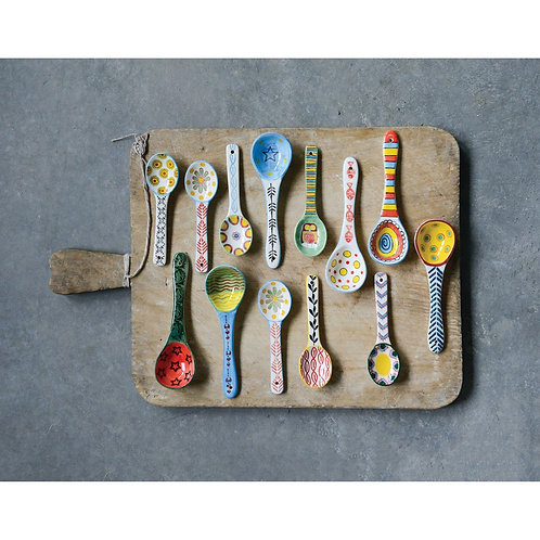 Stoneware Spoon w/ Painted Pattern, Multi Color