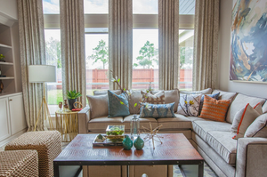 An autumnal color palette in a semi-casual living room