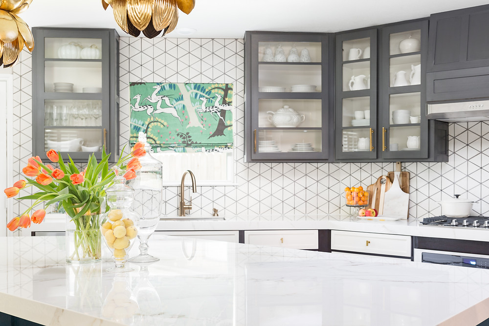 Eclectic Kitchen with gray painted cabinets and cement tile backsplash