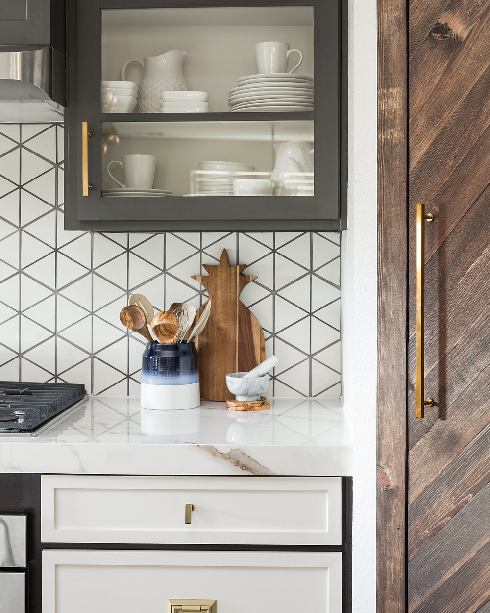 Kitchen Styling with white porcelain dishes