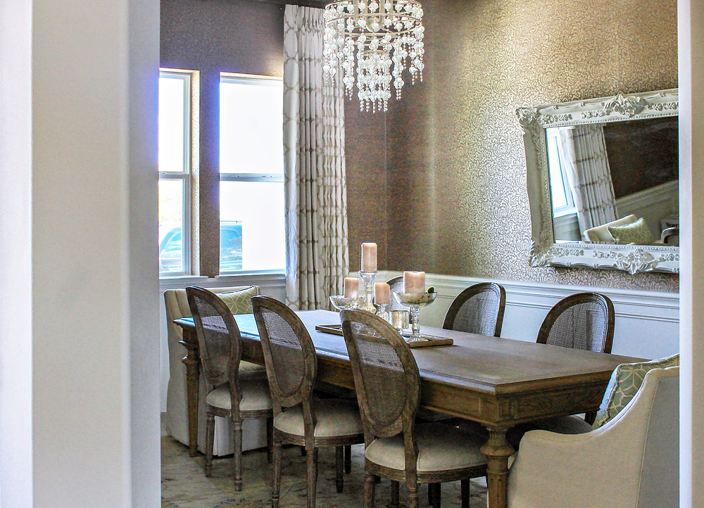 Dining room with metallic damask wallpaper by Omexco