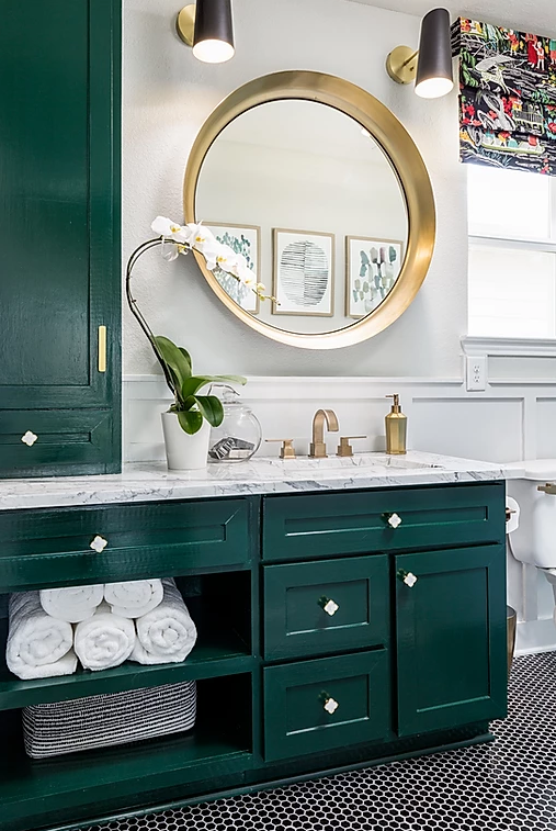 Secondary Bathroom With Green Cabinetry