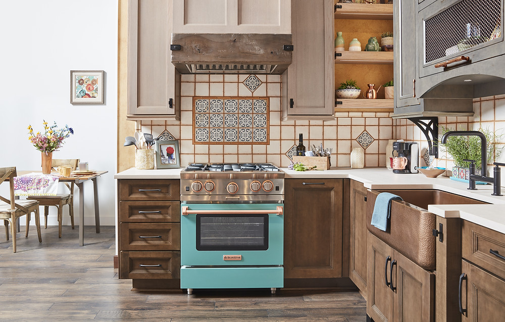 Wellborn Cabinetry Rustic Kitchen With Blue Range