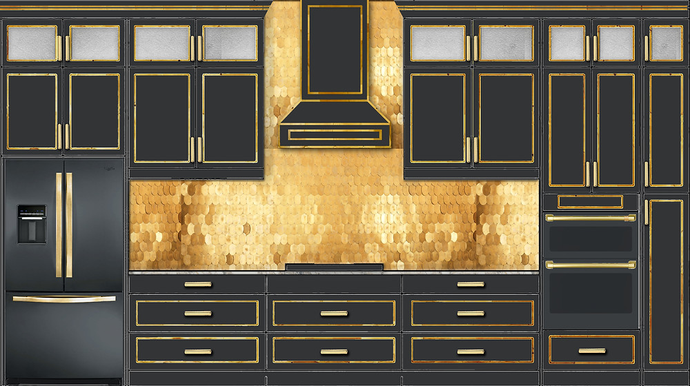 Black and gold kitchen concept