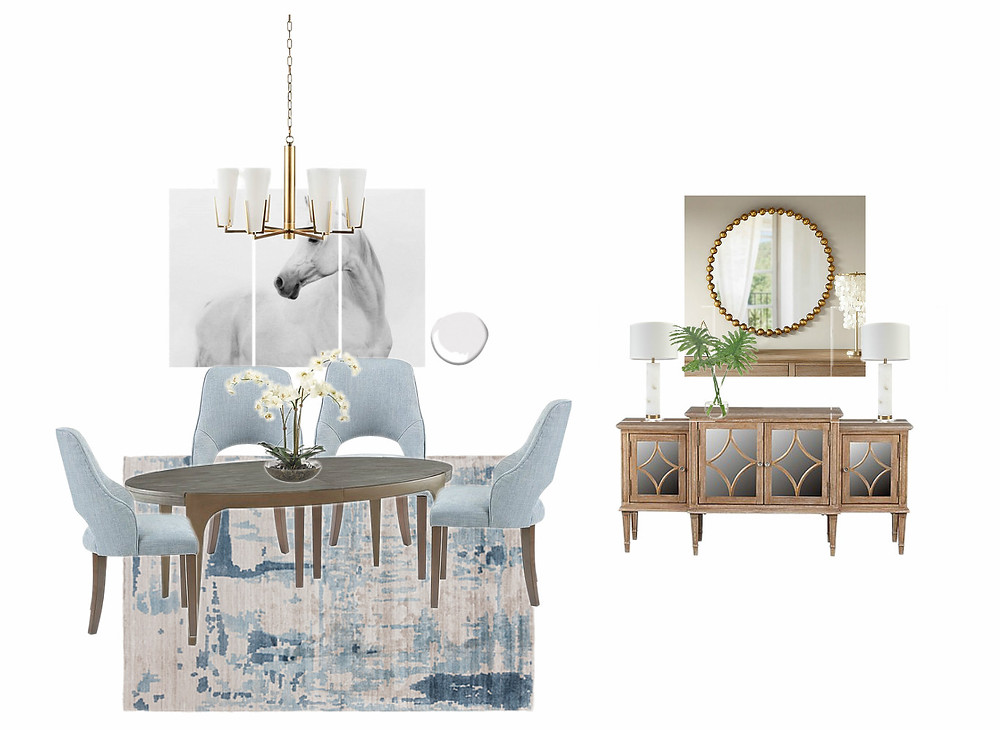 Dining room moodboard with horse triptych