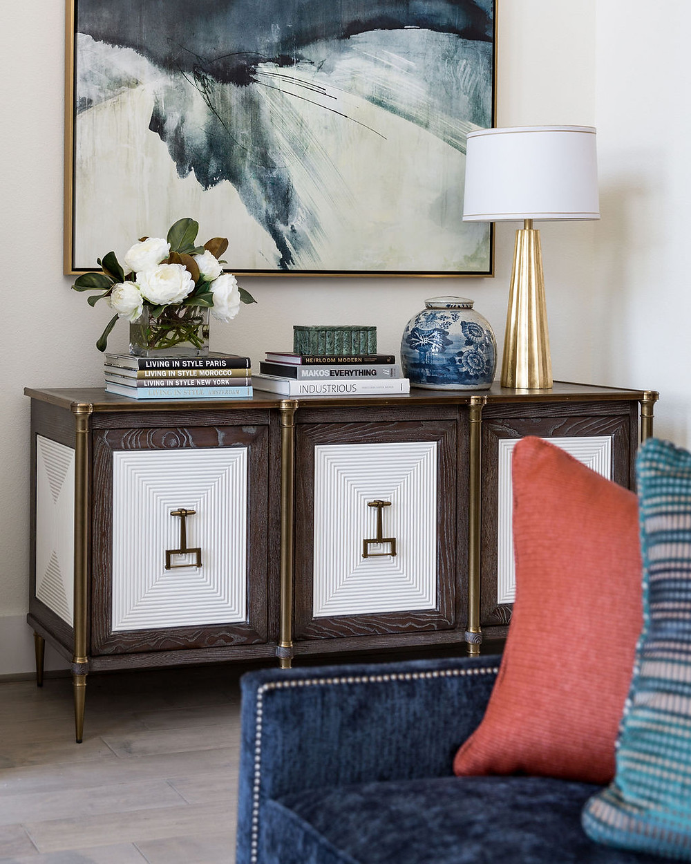 Living Room Vignette With Two-Tone Credenza And Blue Overscale Abstract Art