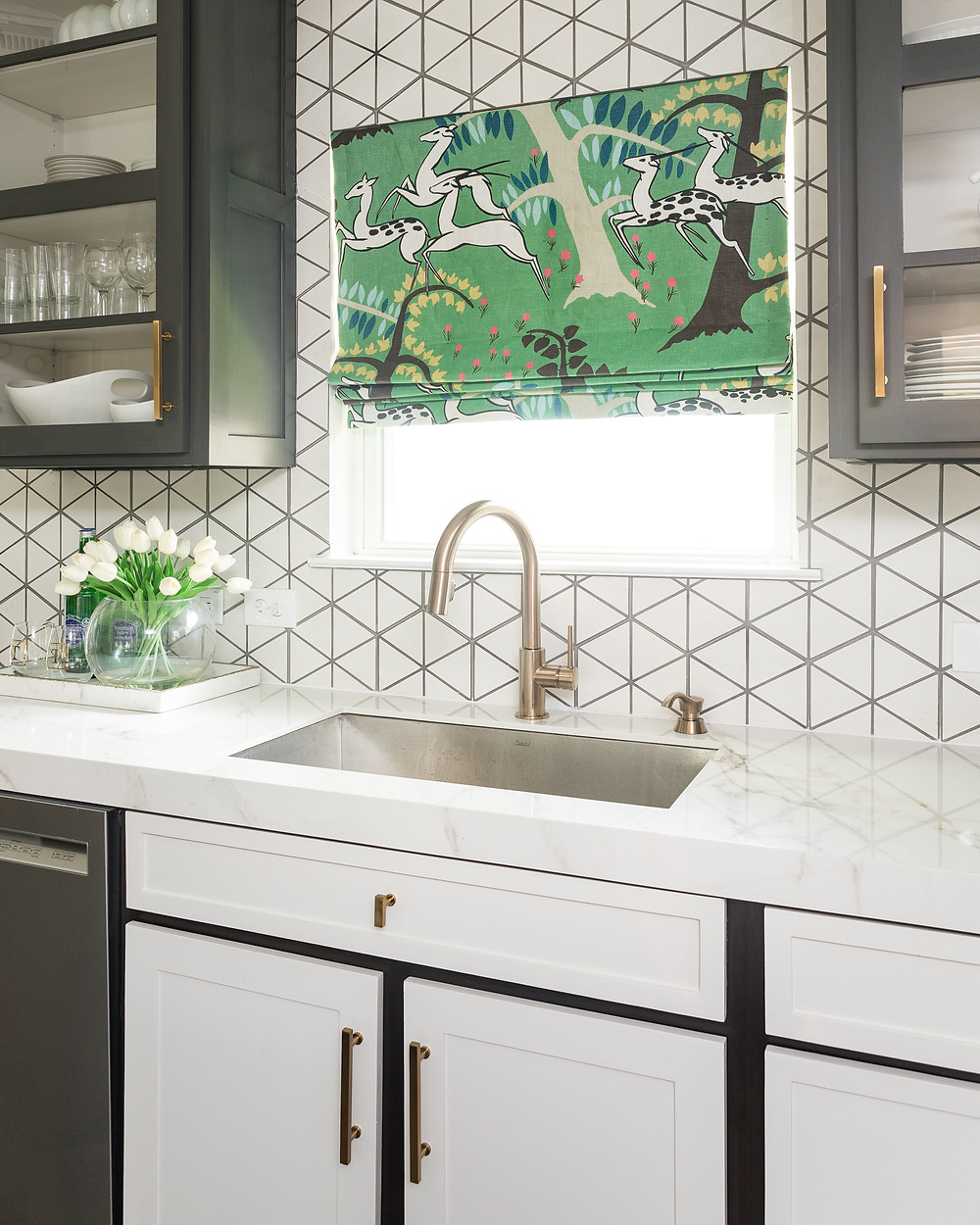 Deep stainless steel sink with porcelain countertop