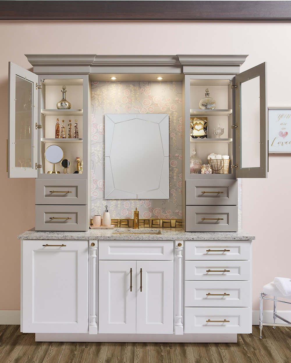 Girl's Vanity Cabinet by Wellborn Cabinetry