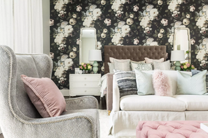 master Bedroom With Bold Floral Wallpaper