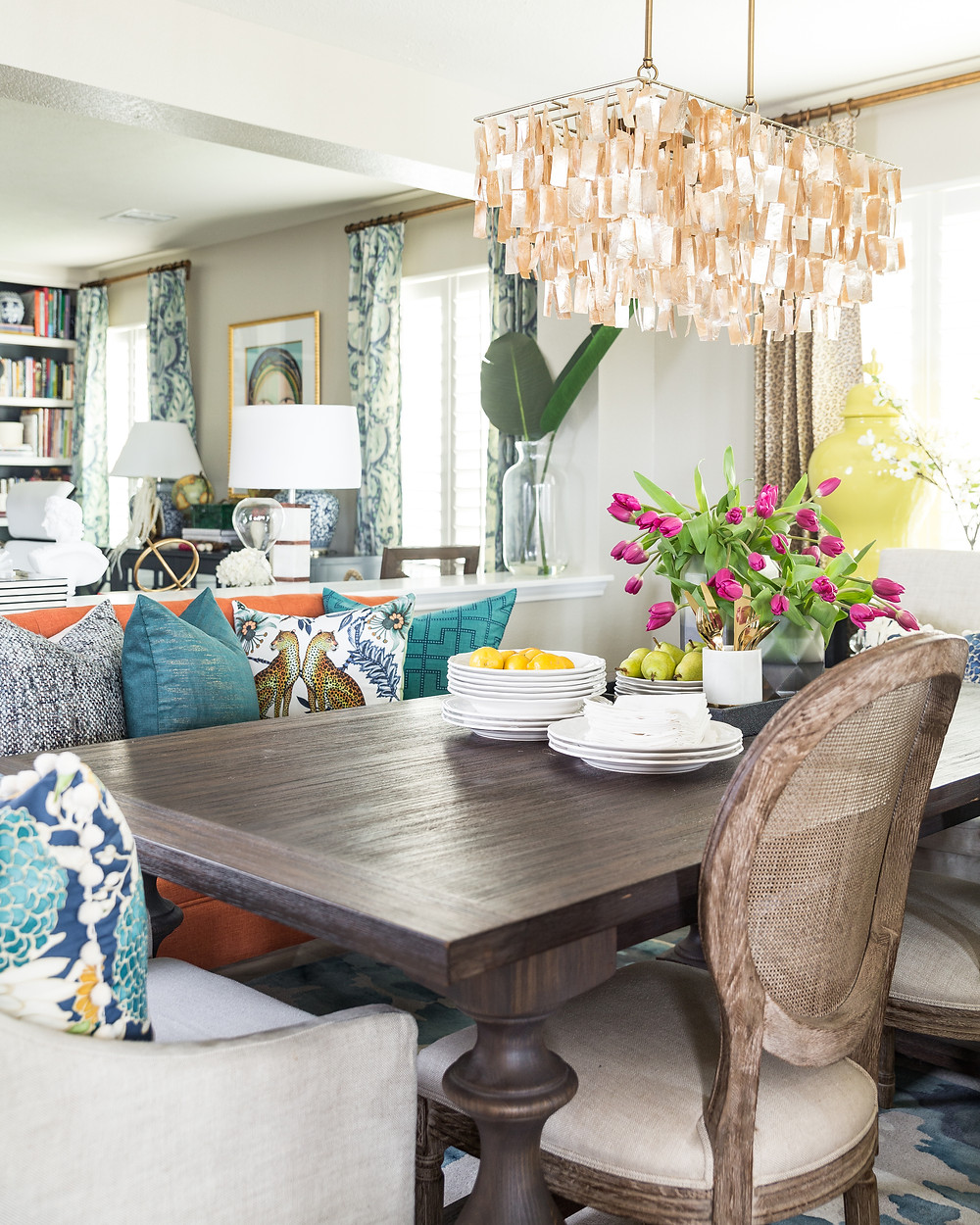 Dining Room Vignette With Bench And Pillows