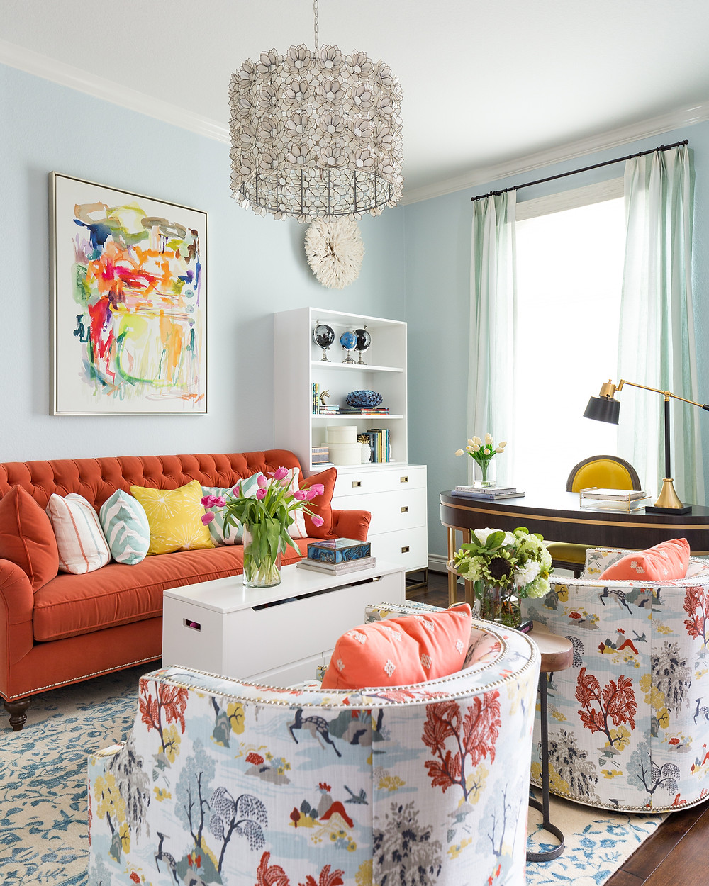 Homeschool Room With Coral Sofa