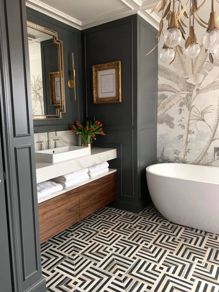 Master bathroom with Kelly Wearstler for Ann Sacks Black and White Graphic marble tile floor