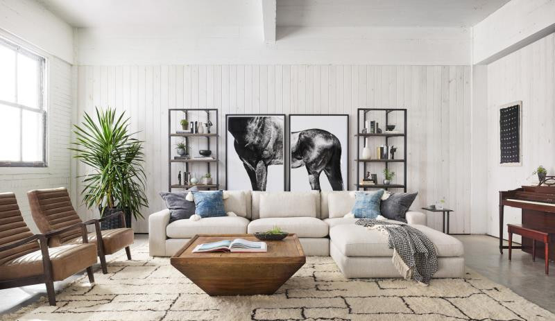 Four Hands Living Room with horse diptych