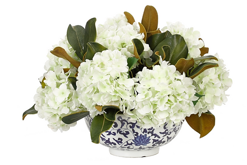 Hydrangea and Magnolia In Blue And White Container