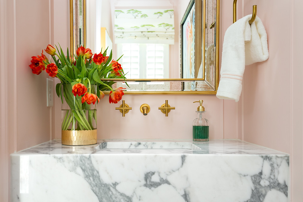 Fresh Tulips In A Powder Room