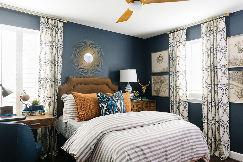 Bedroom painted in Benjamin Moore Hale Navy