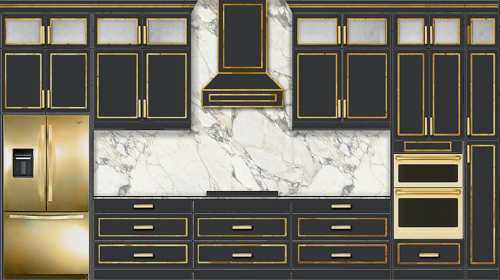 Black kitchen cabinets with gold accents