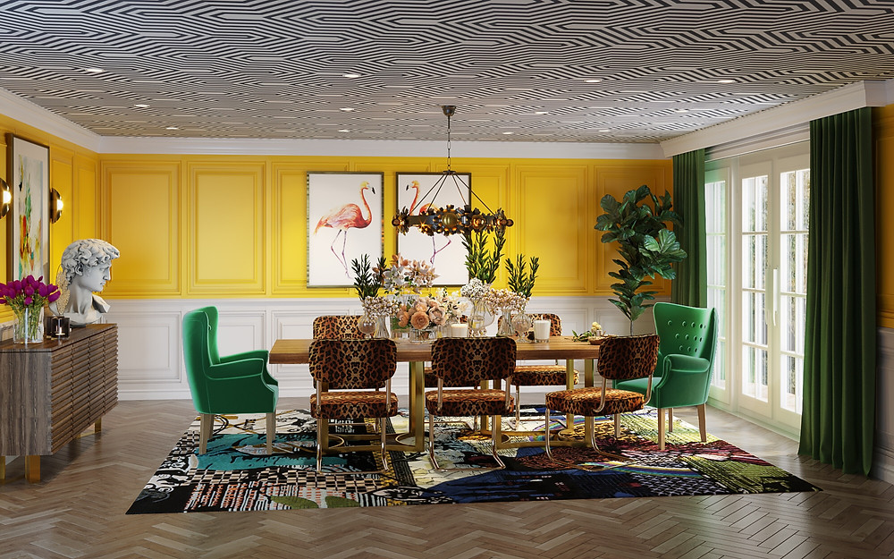 Dining Room with yellow paneled walls and cheetah chairs