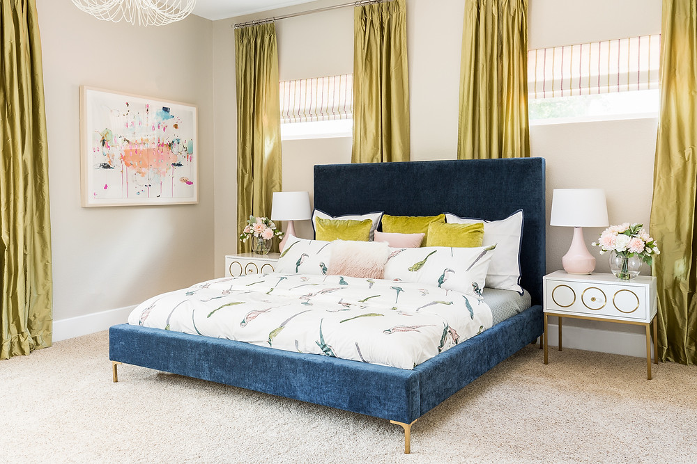 teen Bedroom with bird duvet cover and silk draperies