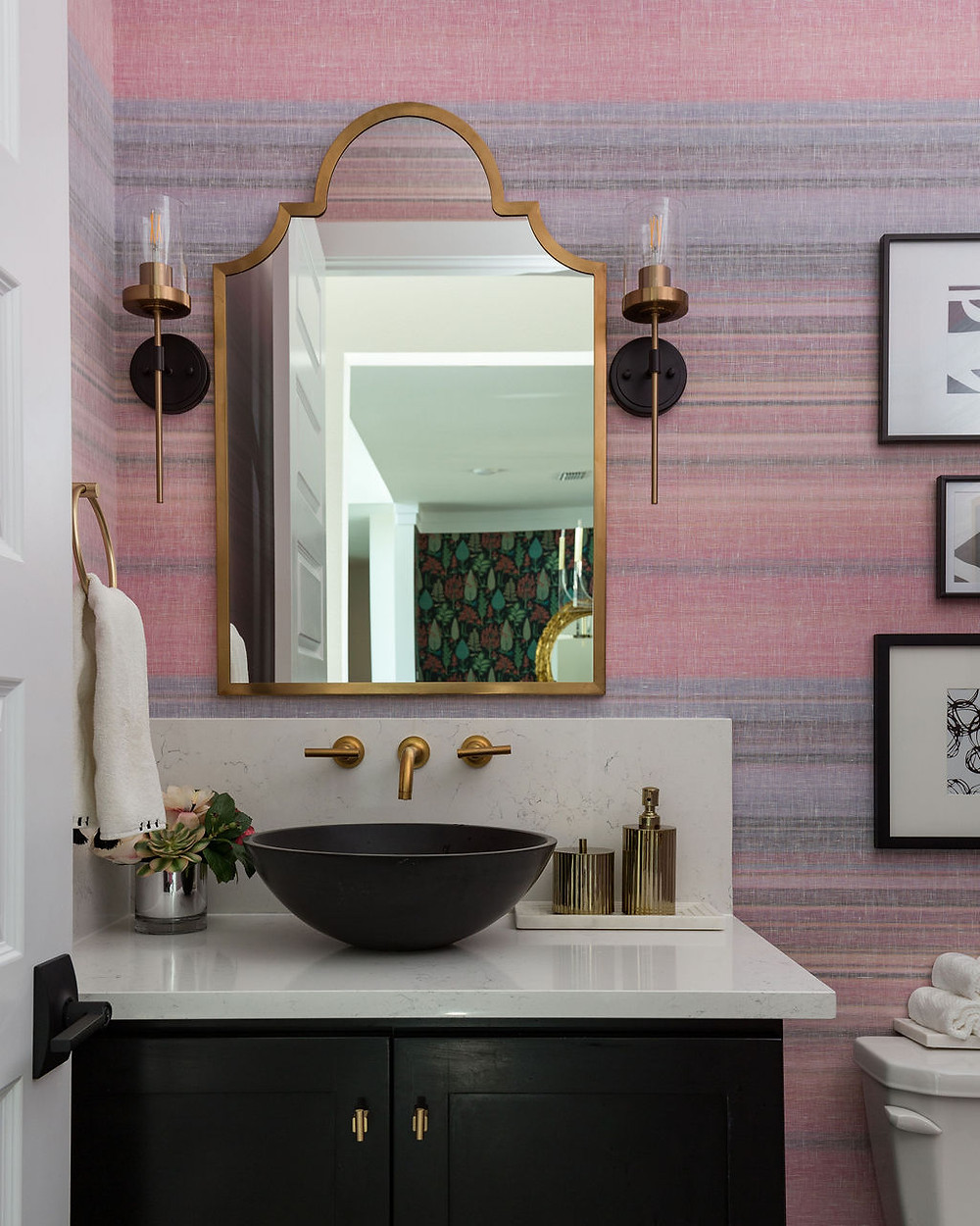 Pink Powder Bathroom With Ombre Wallpaper in Fulshear TX