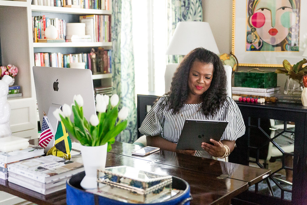 Veronica Solomon In Her Home Office With iPad