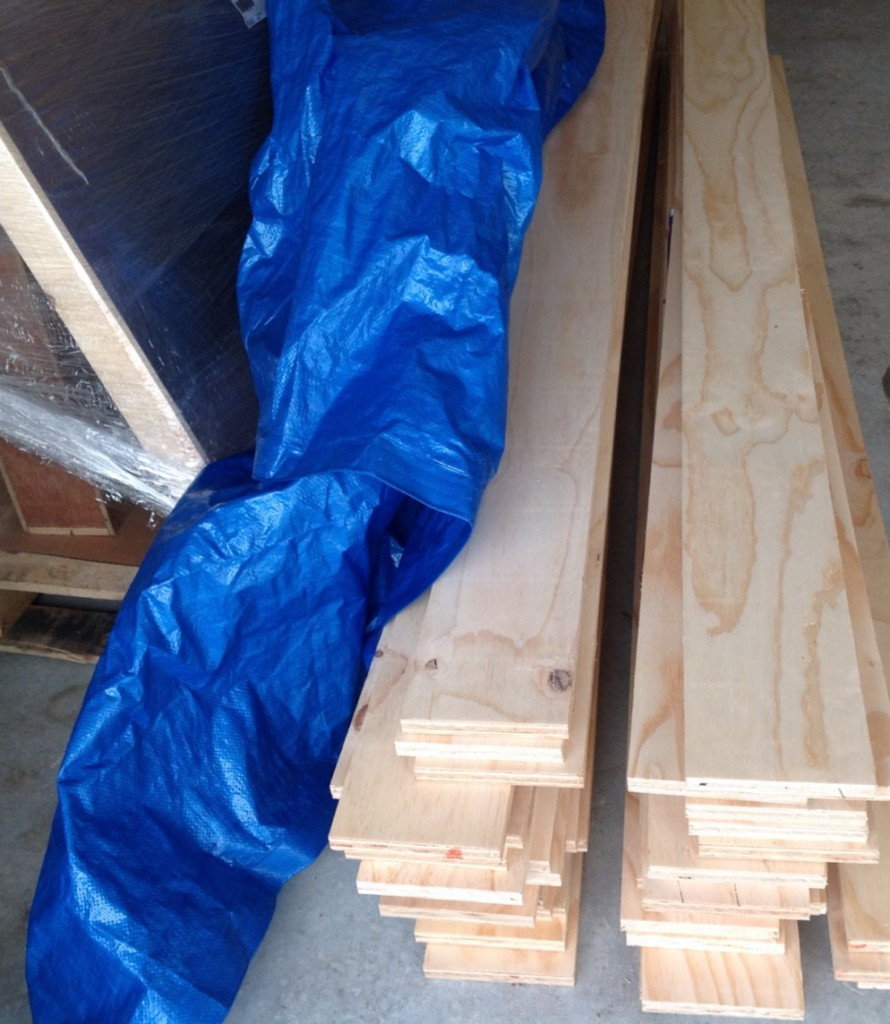 The plywood cut into strips for the flooring