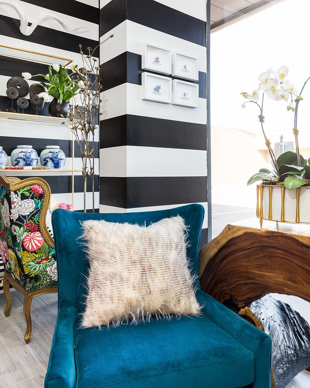 Black and white horizontal stripe accent walls
