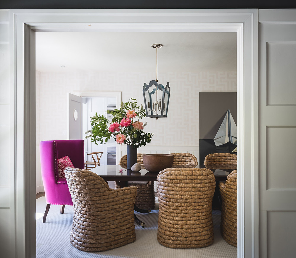 Dining room with woven chairs designed by Alsion Pickart