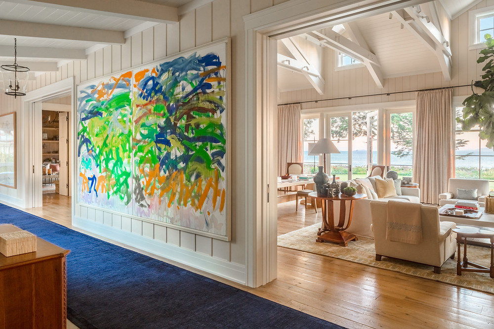 Bold art in a room designed by Tom Stringer