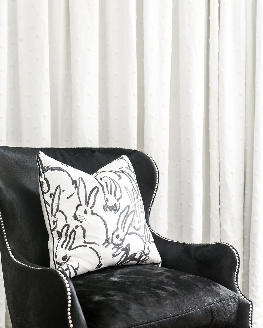 Hair On Hide Chair With Hunt Slonem Bunny Pillow