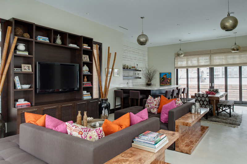Colorful pillows in living room designed by Cari Giannoulias