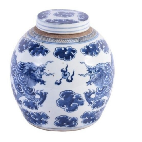 Blue And White Dragon Cloud Ancestor Jar