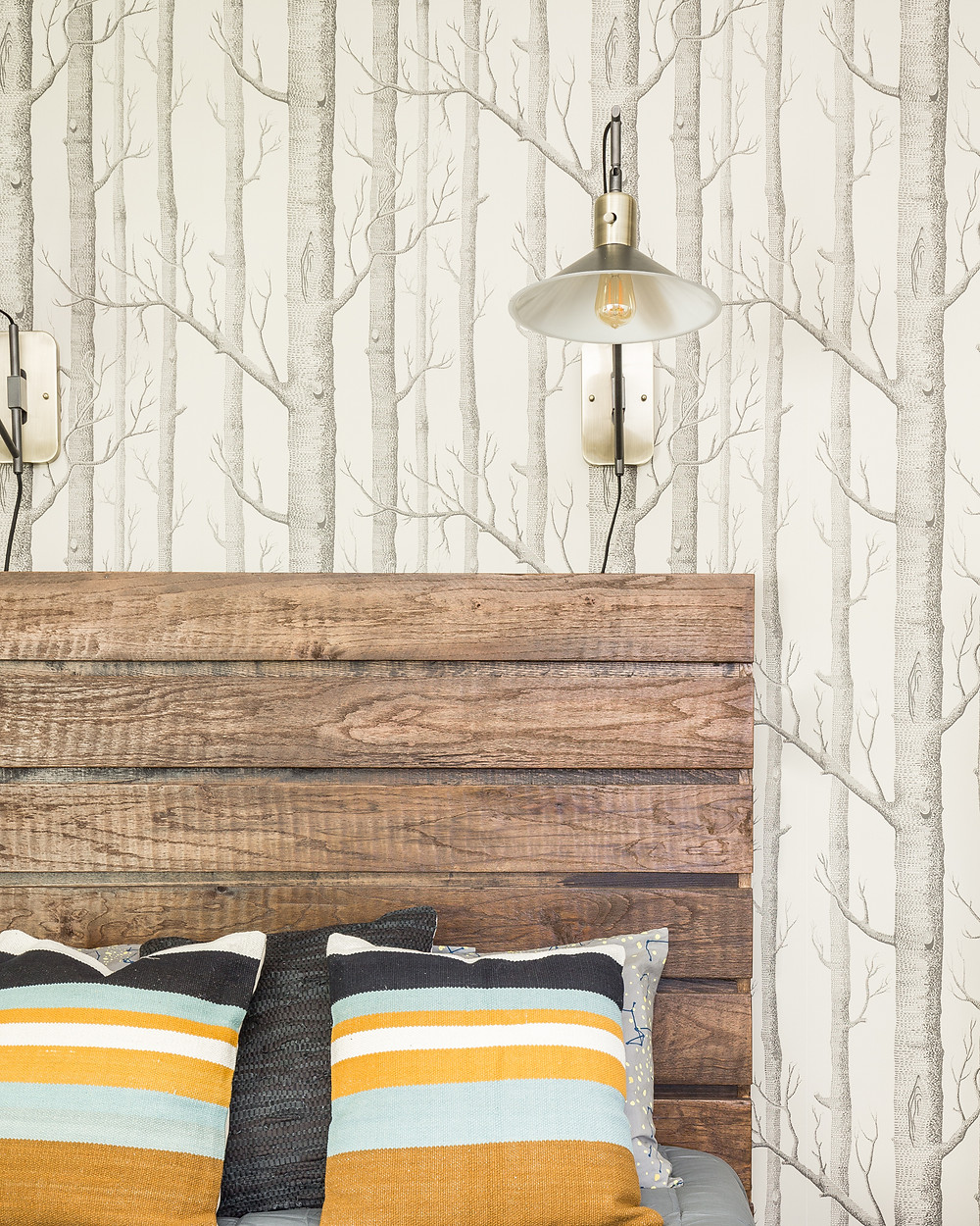 cole an son icons birch trees wallpaper with reclaimed wood bed