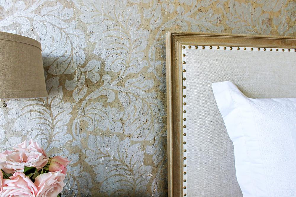 Cork wallpaper with metallic silver leaf damask