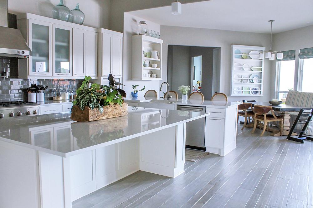 Large white modern farmhouse kitchen