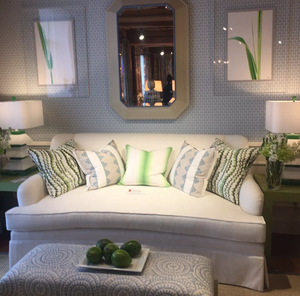 Crypton fabric on a white sofa in Thibaut design showroom in High Point