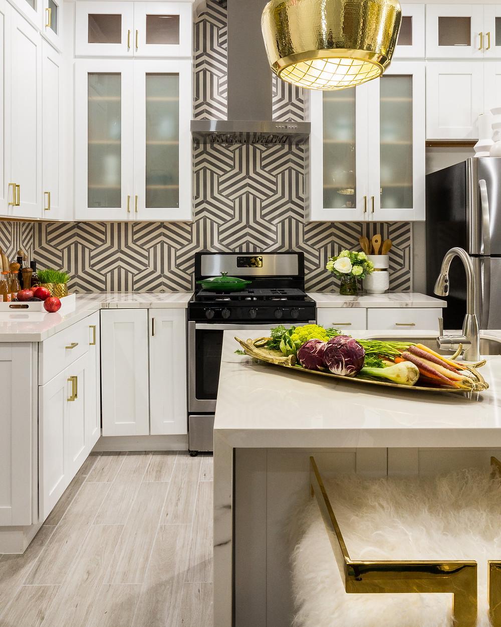 white kitchen with porcelain countertop