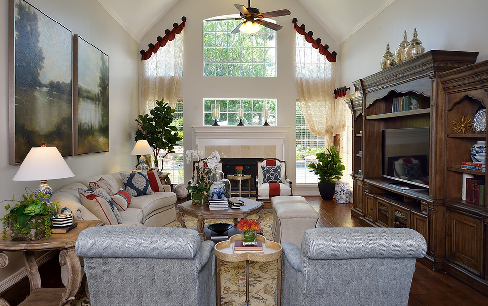 Formal Living Room With Tie Back Draperies