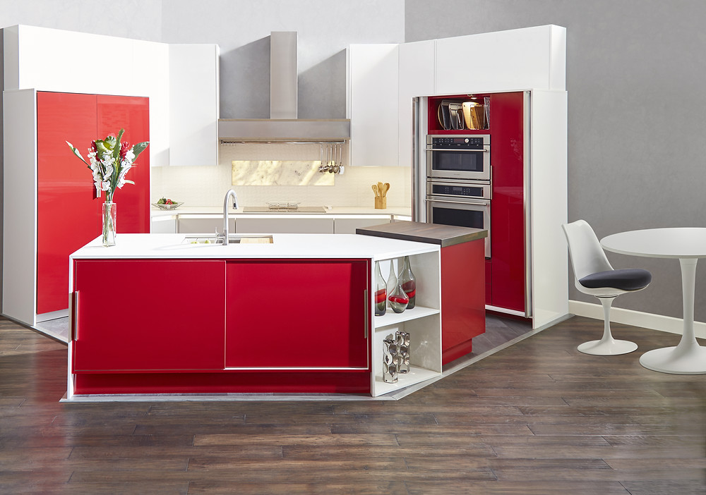Red And White Modern European Kitchen From Wellborn