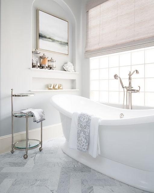 Freestanding bathtub in luxury bathroom