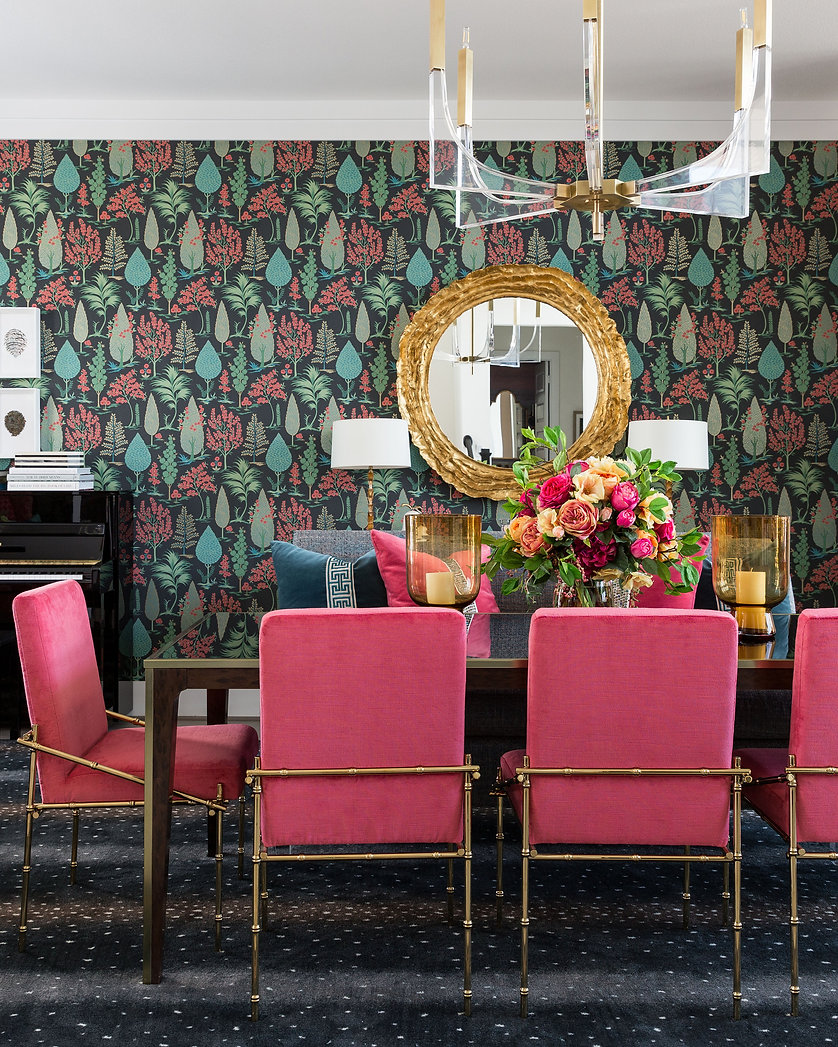 Bold Wallpaper In A Dining Room Lounge.j
