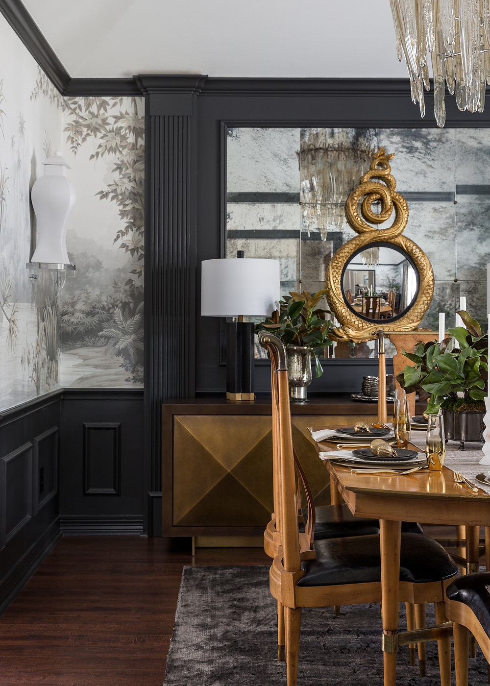 Dining Room With Mural Wallpaper, Trim Painted In A Dark Gray Satin Finish, Vintage Mirrors With Rosettes, Dolphin Decorative Mirror Overlayed, Organic Glass Chandelier. Designed By Veronica Solomon. Photographed By Colleen Scott Photography