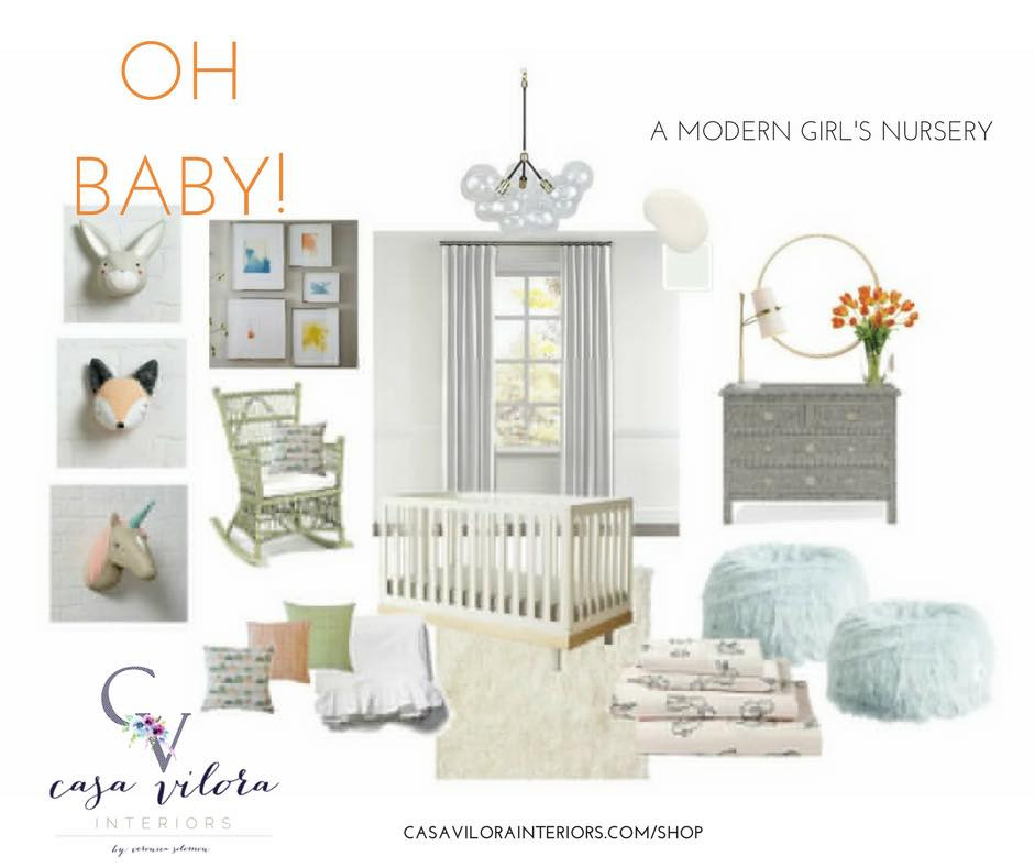 Modern nursery, baby girl nursery