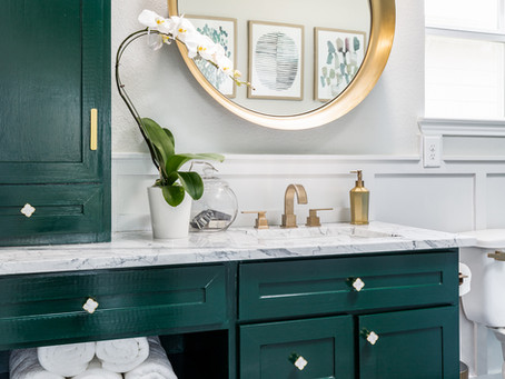 One Room Challenge – Builder Basic To Sophisticated Guest Bathroom – REVEAL